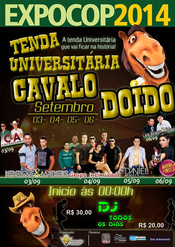 Confira os Shows da Tenda Universitaria da EXPOCOP 2014